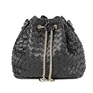 e5d361974824 Amazon.com: Heidi Women Girls Drawstring Bucket Bag Hobo Woven Purse ...