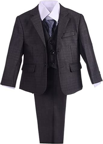 Lito Angels Boys Formal Dress Suits Wedding Outfit Grey Suits Modern Fit 5 Piece Set 045 046