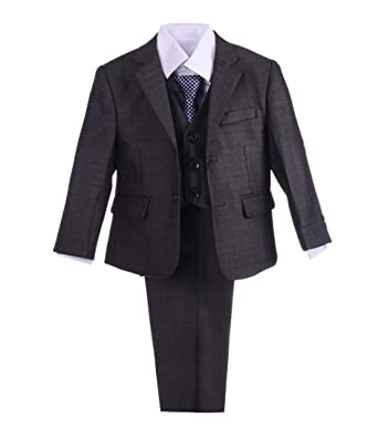ecec3530a9f Dressy Daisy Boys Formal Dress Suits Wedding Outfit Grey Suits 5 Pcs Set  Modern Fit Size