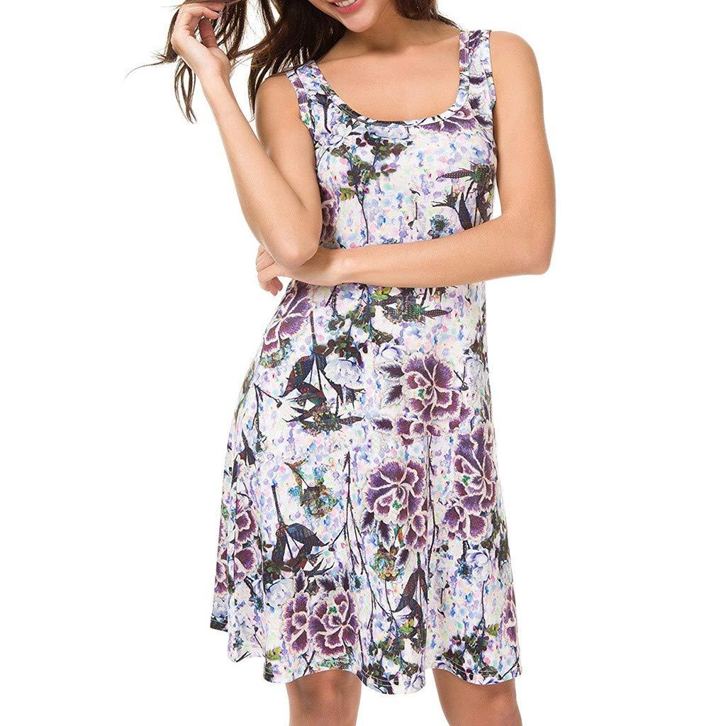 kolila Damen Kurzes Kleid Sommer Womens Rundhals /Ärmelloses Druckkleid Bluse Tops Abend Party Prom Swing Dress