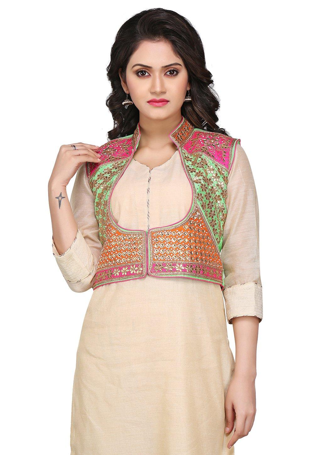 Utsav Fashion Gota Patti Embroidered Dupion Silk Jacket in Multi color by Utsav Fashion