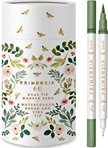 PRIMROSIA 60 Dual Tip Marker Pens, Fineliner and Watercolour Brush Pens for Artists Designers Adults Students Sketching Illustration Calligraphy Permanent Highlighter Bullet Journal Drawing Colouring. Colouring ebook included to download