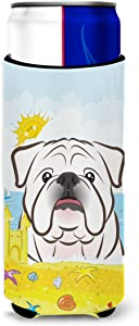Caroline's Treasures BB2088MUK White English Bulldog Summer Beach Michelob Ultra beverage Insulator for slim cans, Slim Can, multicolor