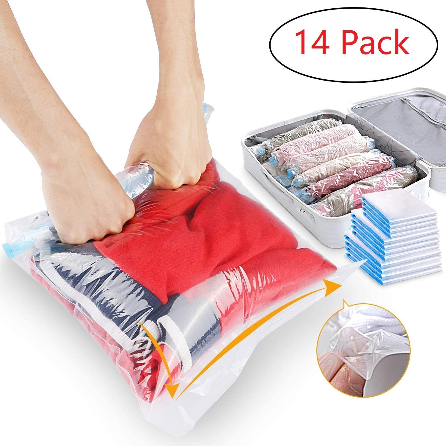 Houson 14 Pack Travel Storage Bags, No Vacuum or Pump Needed Travel Compression Bags Roll Up Storage Bags for Clothes, Luggage