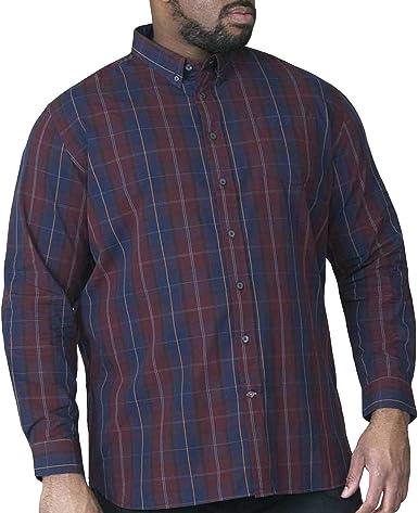 D555 - Camisa Casual - Manga Larga - para Hombre Navy, Wine 3XL: Amazon.es: Ropa y accesorios