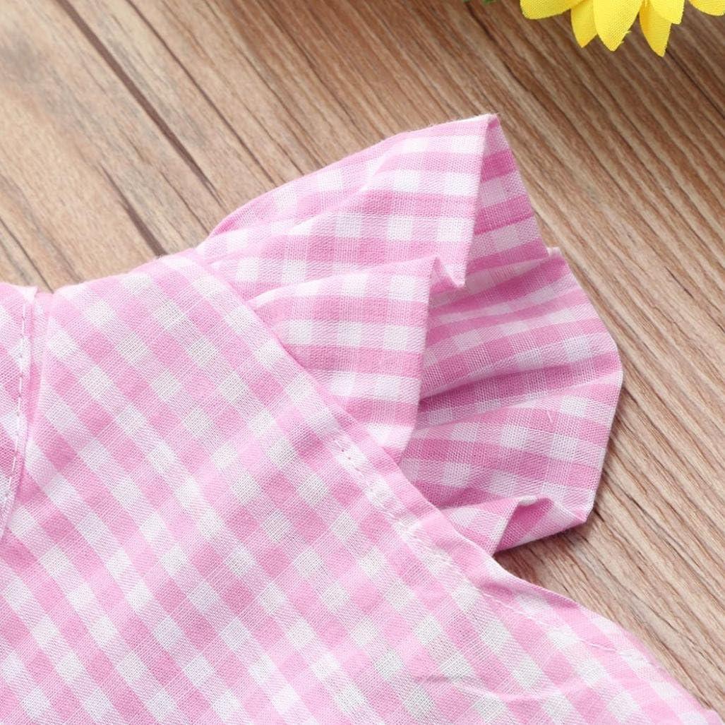 Ropa Bebe Ni/ña Verano Fossen Recien Nacido Cuello Haltar de Estilo Tops y Pantalones con Cintas de Pelo