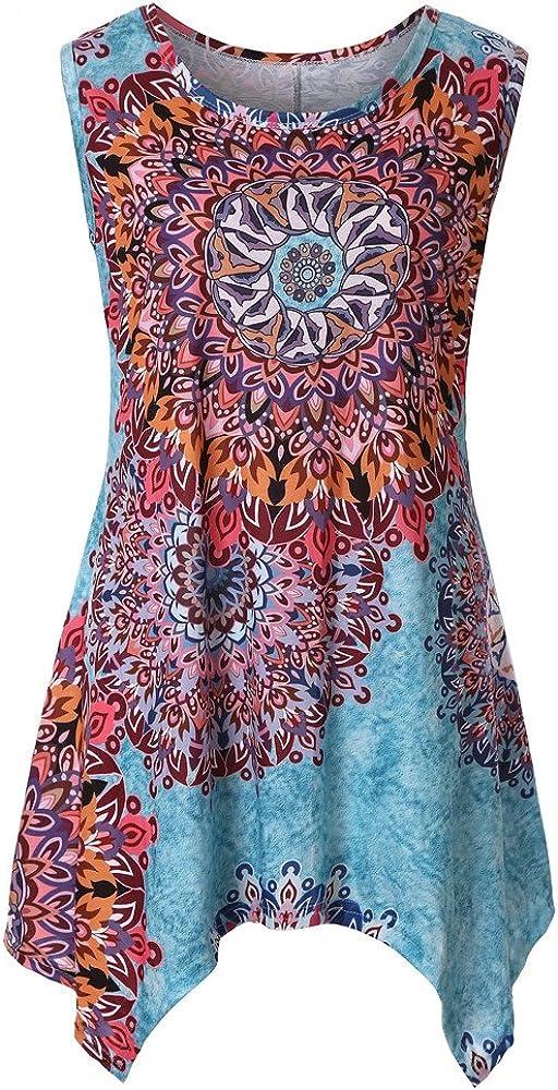 Summer Wear Tee Sleeveless T-Shirt DongDong /♥Irregular Floral Printed Vest Loose Tunic Top Shirt for Women