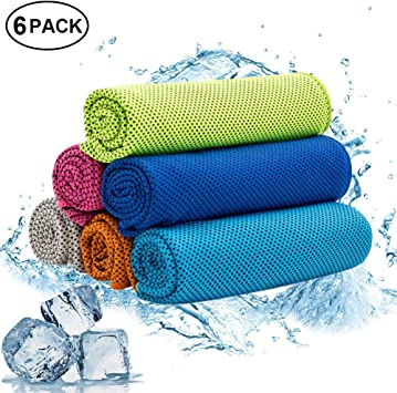 W-ShiG 6 Pack Cooling Towel,Super Absorbent Cooling Towel for Sports,Workout,Fitness,Gym,Yoga,Pilates, Travel,Camping