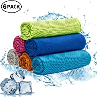 W-ShiG All W-ShiG 6 Pack Cooling Towel,Super Absorbent Cooling Towel for Sports,Workout,Fitness,Gym,Yoga,Pilates, Travel,Camping, Colourful
