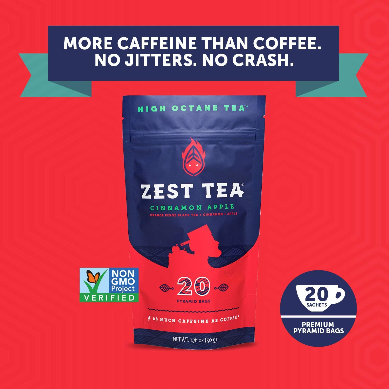 Traditional Coffee Substitute, Perfect for Keto, 150 mg Caffeine per Serving, 20 Sachets