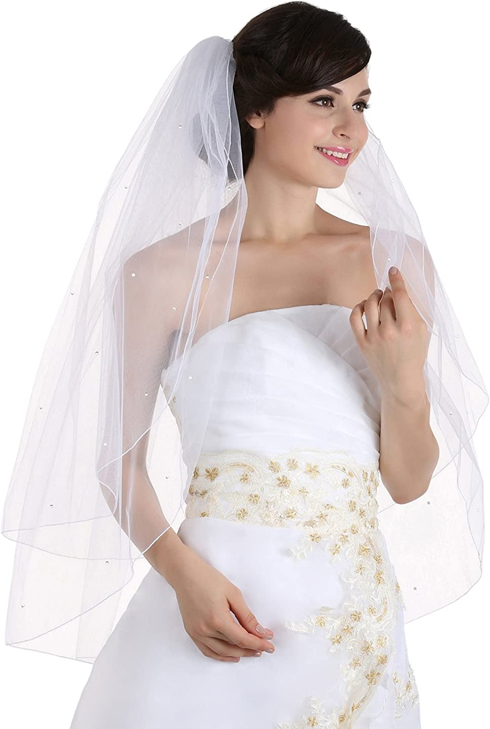 SAMKY 2T 2 Tier Rhinestone Crystal Pencil Edge Bridal Wedding Veil