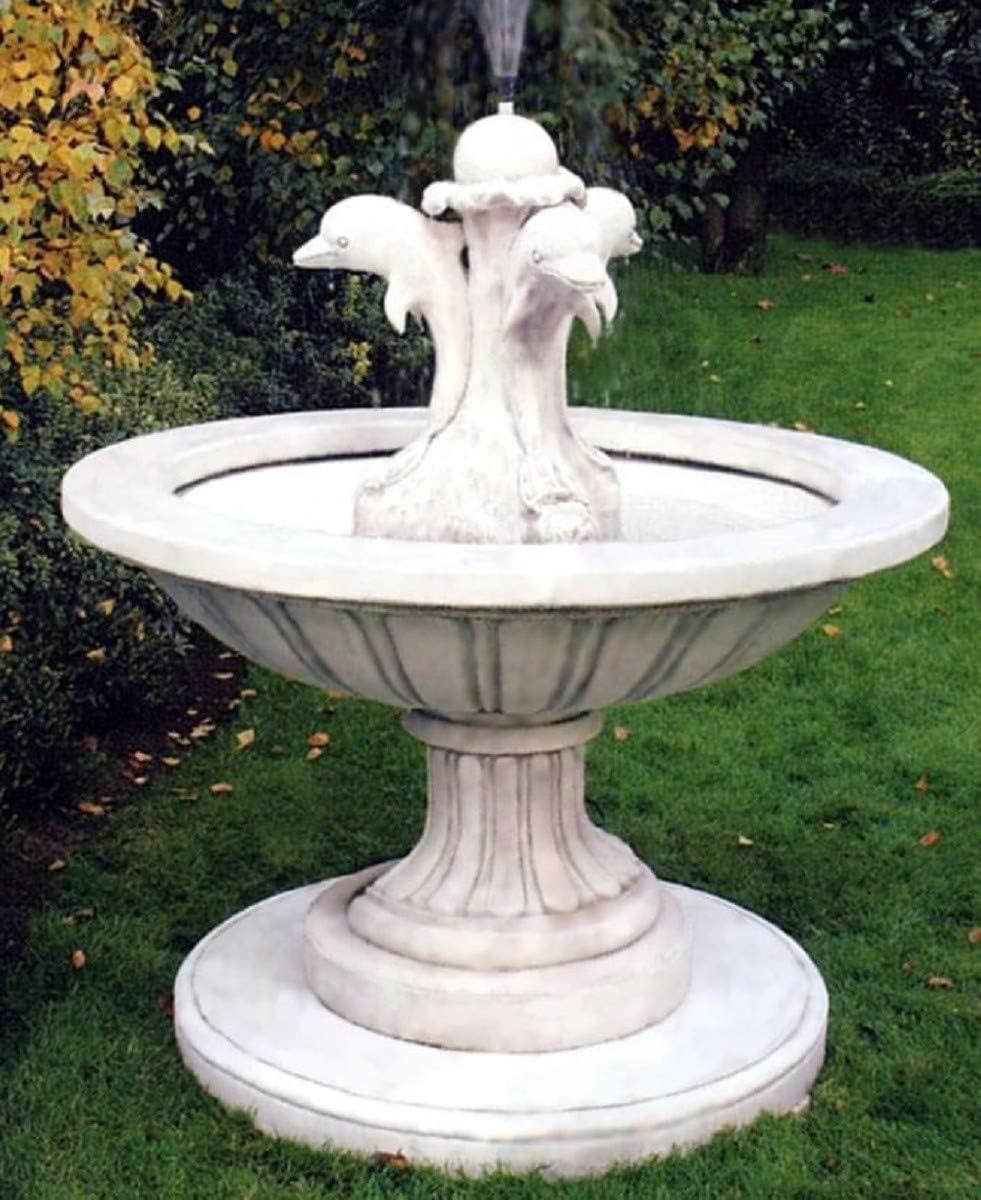 Casa Padrino Fuente de Jardín Art Nouveau Gris Blanco Ø 130 x H. 145 cm - Fuente Redonda con Delfines Decorativos - Decoración de Jardín: Amazon.es: Hogar