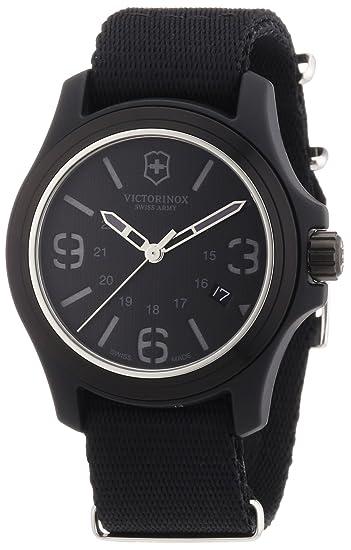 Victorinox Swiss Army - Reloj analógico de cuarzo para hombre con correa de tela, color negro: Victorinox Swiss Army: Amazon.es: Relojes
