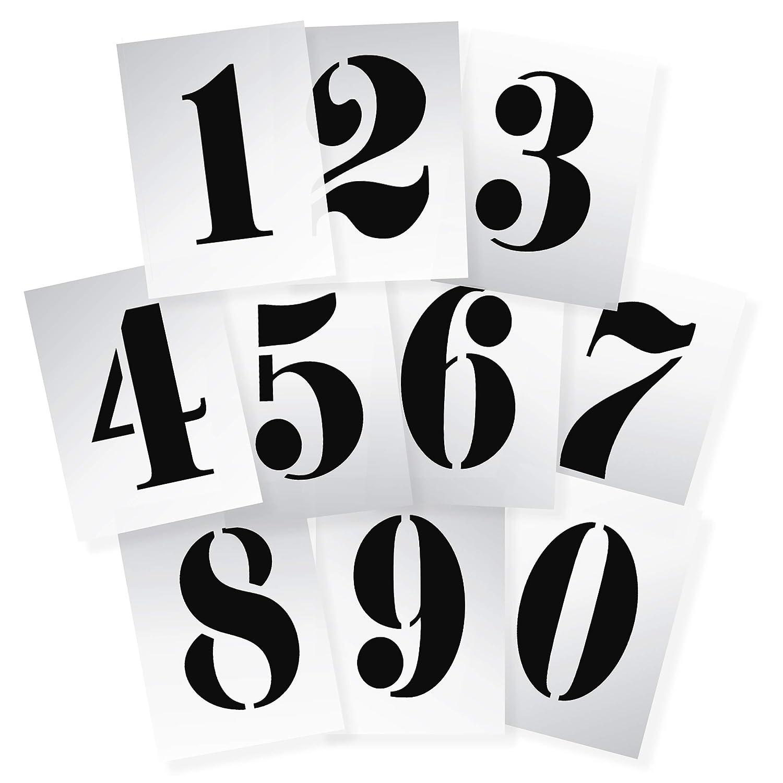 Dovetails 0123456789 Pochoirs /à Chiffres r/éutilisables en Plastique Souple et r/ésistant de 295 x 200 mm