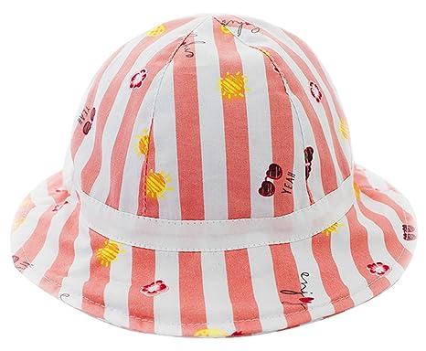 4bb69ecdbf83 Happy Cherry Chapeau Bébé Fille en Coton Anti UV avec Motif Ananas Rayure  Chapeau Pêche Mignon