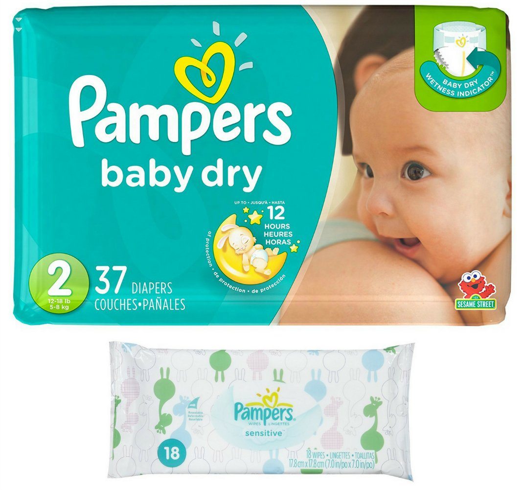 Pampers Baby Dry Size 2 Disposable Diapers - 37 count (3 Layers of Protection) + Sensitive Wipes Travel Pack 18 ct by Pampers
