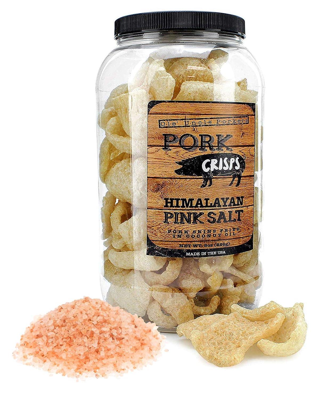 Keto Friendly Pork Rinds (Himalayan Pink Salt, 8-Ounce); Pork Crisps Fried in Coconut Oil