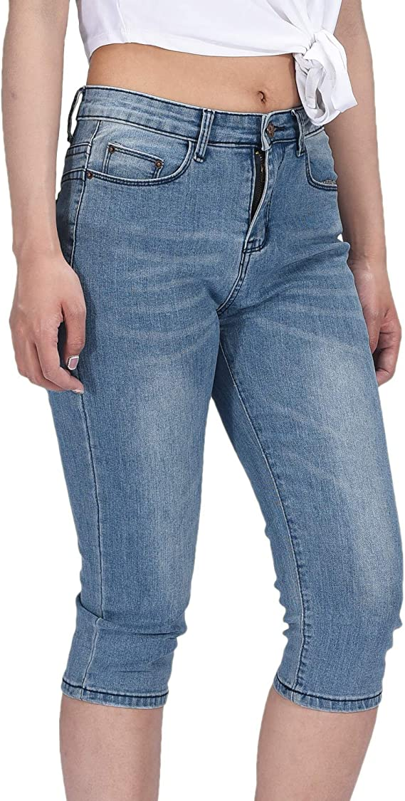 new collection low price sale great deals 2017 PHOENISING Women's Sexy Cropped Jeans Comfy Bottom 3/4 Legnth Denim  Trousers,Size 6-16