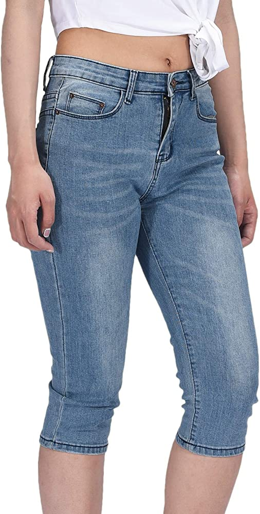 cc056b54043c1a PHOENISING Womens 3/4 Length Stretchy Denim Trousers Sexy Cropped Skinny  Jeans Size Blue 6