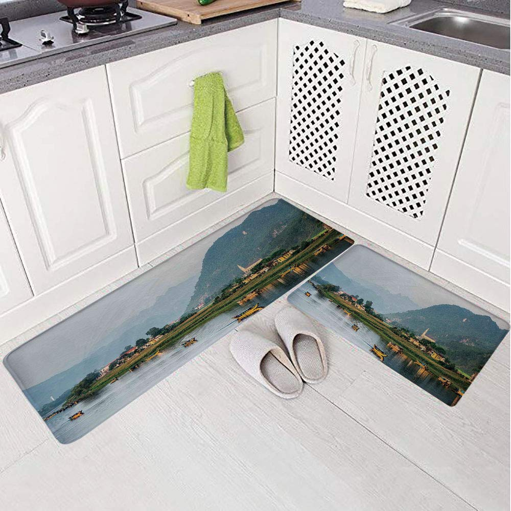 2 Piece Non-Slip Kitchen Mat Rug Set Doormat 3D Print,Village Small Houses Mountains Trees Boats Flowing,Bedroom Living Room Coffee Table Household Skin Care Carpet Window Mat,