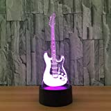 Circle Circle Electric Guitar 3D Optical Illusion Lamp 7 Colors Change and 15 Keys Remote Control LED Night Light Perfect Gifts Toys