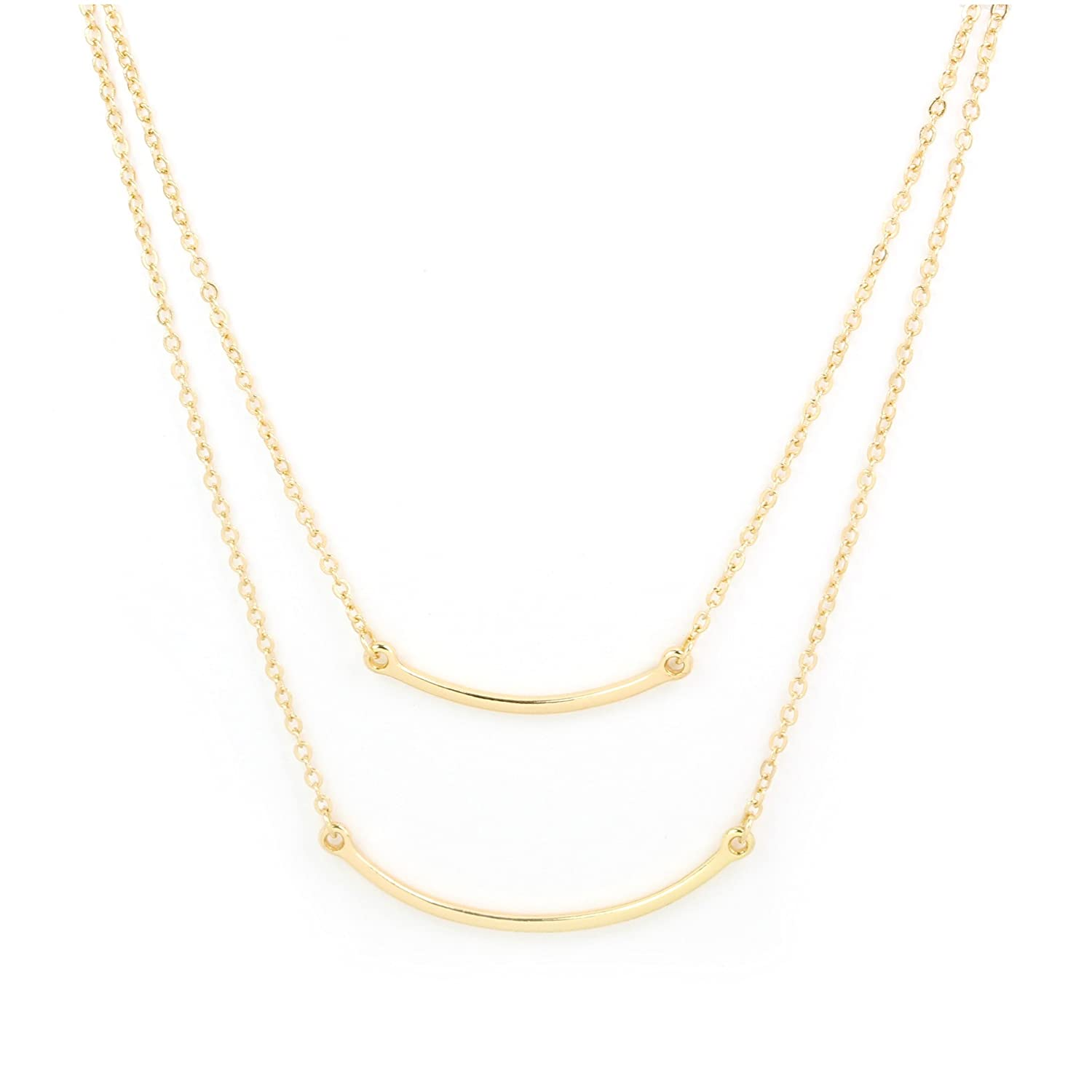 JewelryStorm Gold Double Curved Bar Pendant Necklace