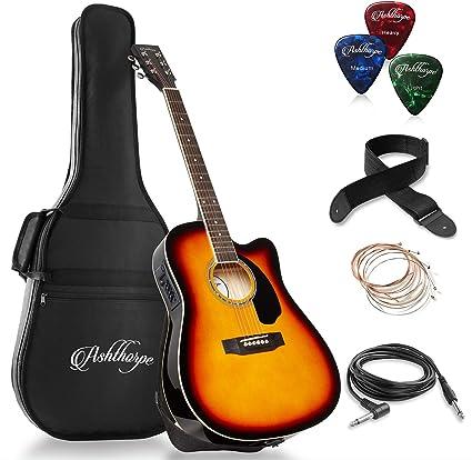Ashthorpe Paquete de guitarra acústica eléctrica de tamaño ...