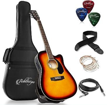Amazon.com: Ashthorpe - Guitarra acústica eléctrica de ...