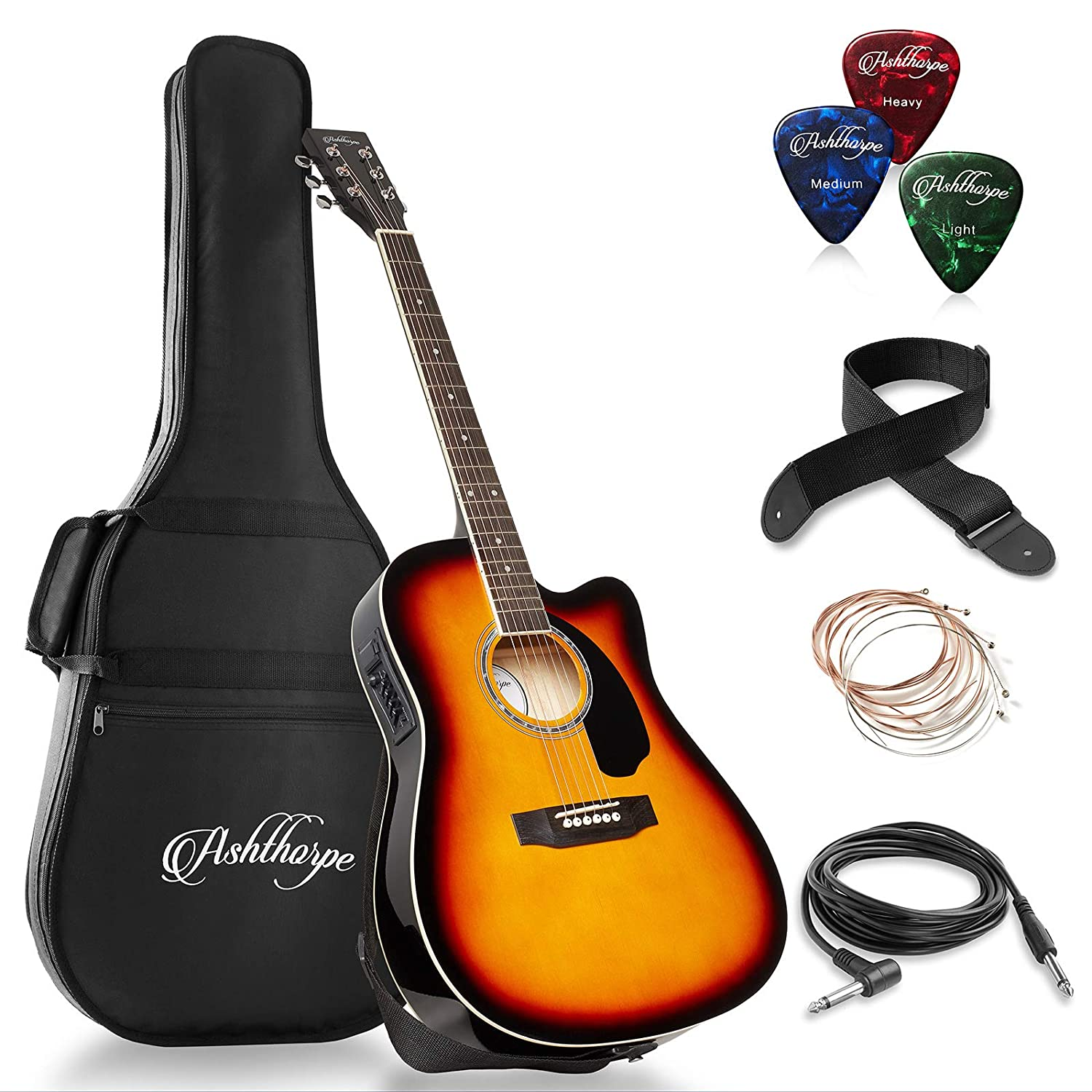 B07FDLZ56Y Ashthorpe Full-Size Cutaway Thinline Acoustic-Electric Guitar Package - Premium Tonewoods - Sunburst 713BfbyeAYL