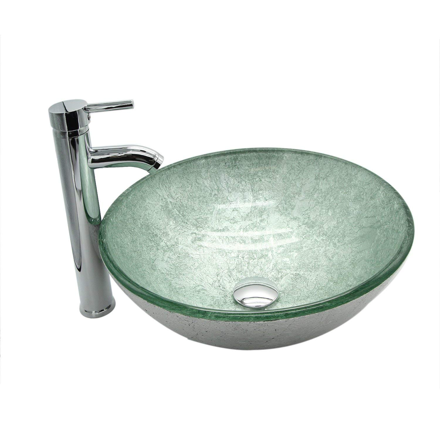 DOIT Bathroom Round Silver Green Glass Vessel Sink Bowl with Chrome Faucet and Pop Up Drain Combo Set Round