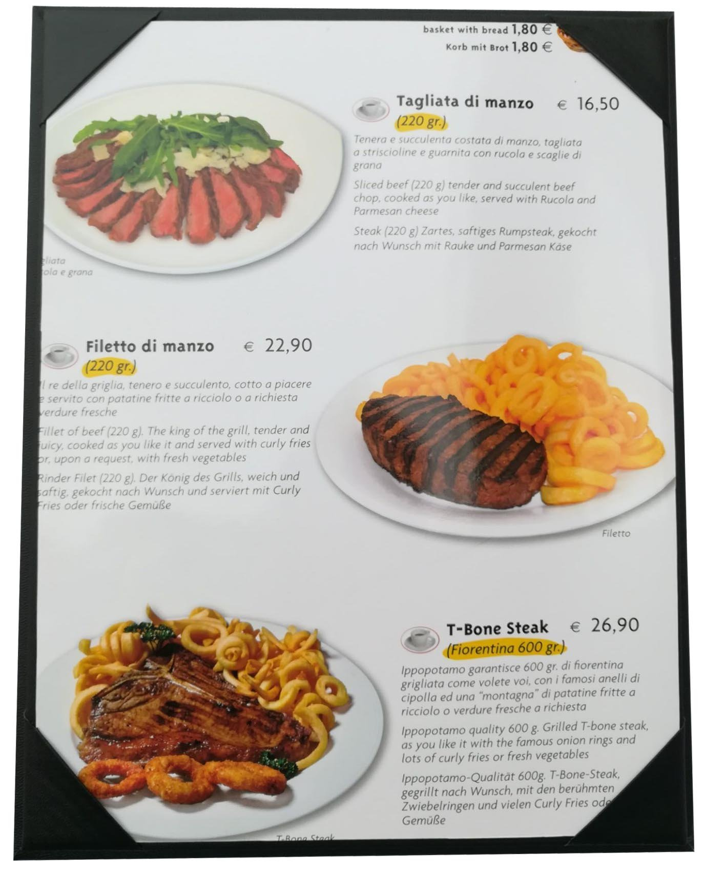 10 Pcs of Restaurant Menu Covers Holders 8.5'' X 11'' Inches,Single View,Sold By Case,With Clear PVC sheets for Paper Protection