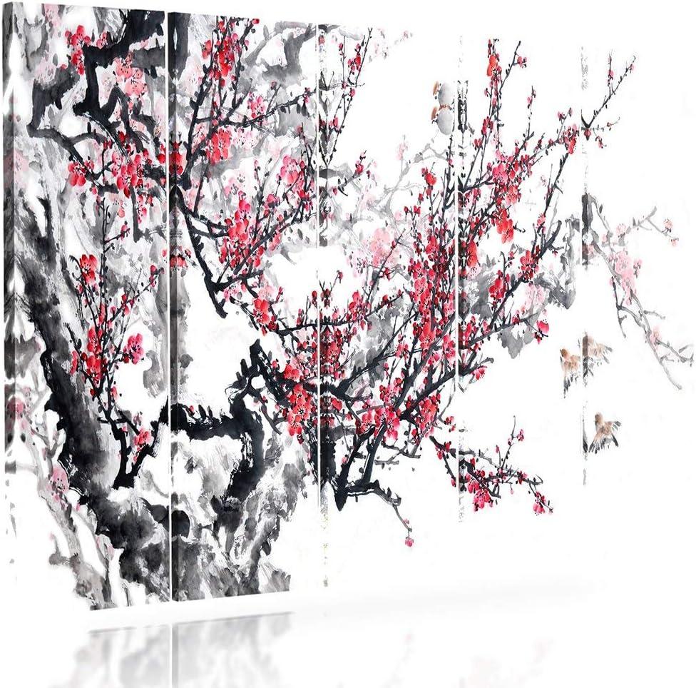Pentaptyque Feeby Frames Tableau Deco Tableau imprim/é XXL 100x70 cm Cerisier Japonais, Blanc, Rouge, Noir Tableau Multi Panneau 5 Parties Type A Tableau imprim/é sur Toile