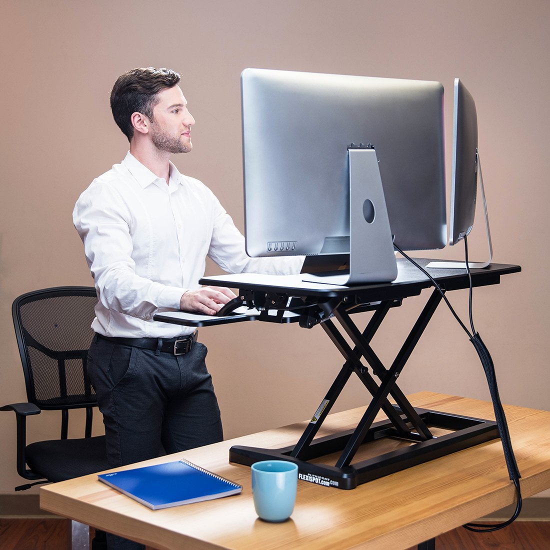 "FlexiSpot Standing Desk Hight Adjustable Desk Riser with Deep Keyboard Tray for Laptop - 35"" - Black - M7MB-SBA"