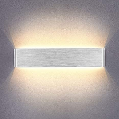 Yafido Applique da Parete Interno Moderno 40CM LED Lampada da parete Bianco  Caldo 14W Lampada Muro Argento Spazzolato per Camera da Letto Soggiorno ...