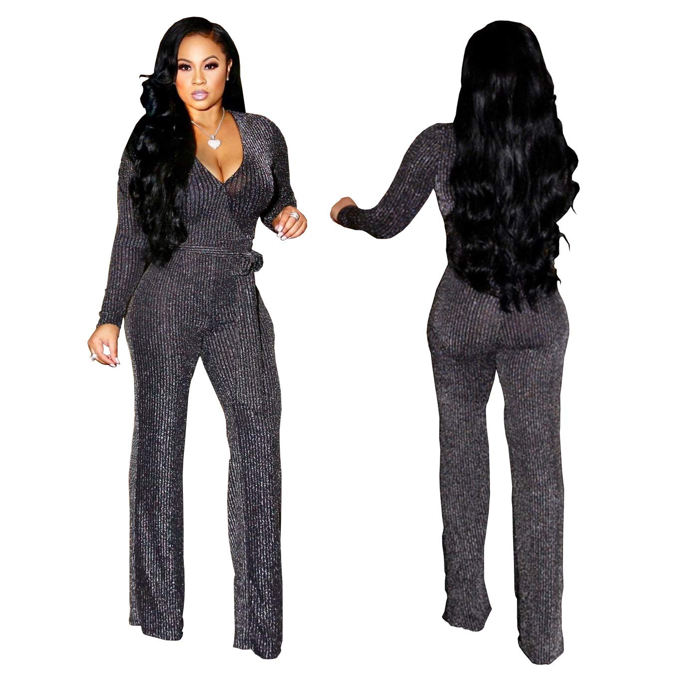 aef0661a72b1 Amazon.com  Sparkly Sexy Jumpsuits for Women Clubwear Long Sleeve Elegant  Party Rompers high Waisted Wide Leg Pants Plus Size  Clothing