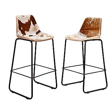 2er Set Design Barstuhl TORO hochwertiges Kuhfell braun weiß ...