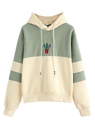 SweatyRocks Womens Long Sleeve Colorblock Pullover Fleece Hoodie Sweatshirt  Tops Green Yellow S cd54a261250
