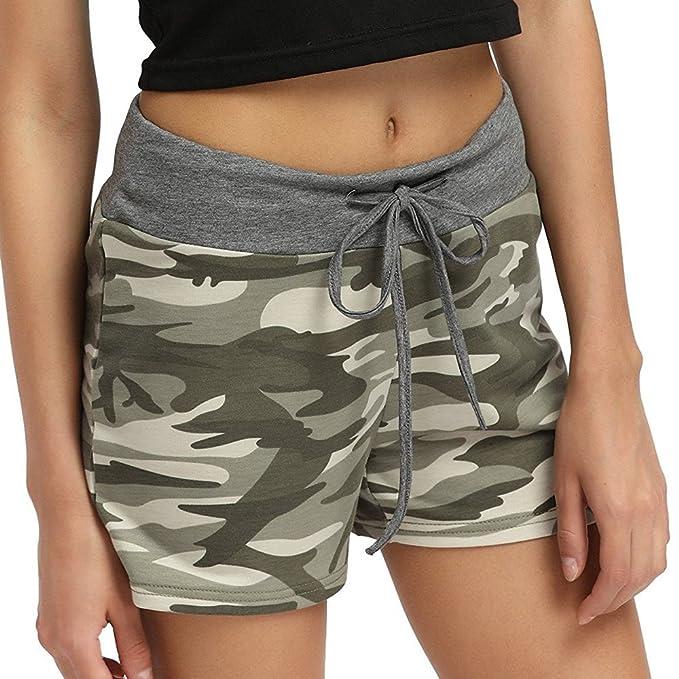 HARRYSTORE Pantalones Cortos Mujer Deporte Yoga Fitness Gym Pantalón Deportivo Camouflaje Cintura Alta con Dibujo