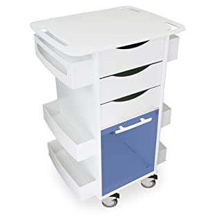 """TrippNT 53157 Polyethylene Core DX Multi-Tasking Deluxe Locking Medical Cart with Blue PETG Door, 150 lbs capacity, 23"""" Width x 35"""" Height x 19"""" Depth, 6 Shelves"""