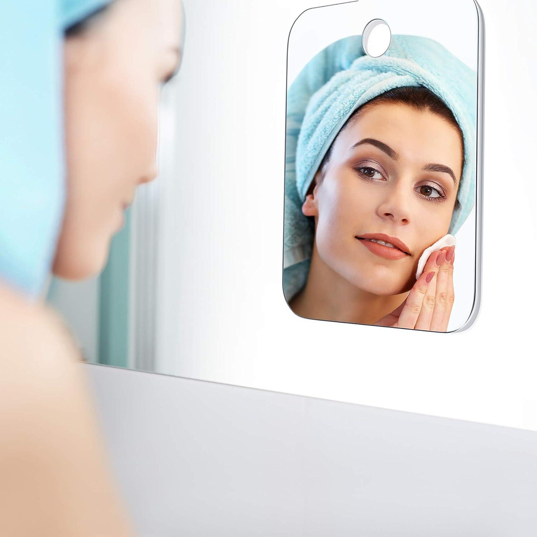 Blulu Espejo de Ducha 11 x 7,5 Pulgadas// 28 x 19 cm Espejo de Maquillarse de Afeitado Espejo de Colgante de Pared Espejo Ligero sin Marco con 2 Piezas Ganchos Adhesivos
