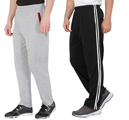 dda53b5eac52 Combo Of Men's Cotton Track Pants, Joggers for Men, Men's Leisure Wear,  Night Wear Pajama, Grey Color With Zip Pockets and Black Color With White  Stripes ...