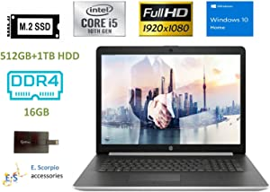 "2020 HP Laptop 17 Newest Business Laptop Computer I 17.3"" Full HD IPS I 10th Gen Intel Quad-Core i5-1035G1(>i7-8550U) 16GB DDR4 RAM, 512GB SSD 1TB HDD Backlit KB WiFi Win 10 with E.S 32GB USB Card"