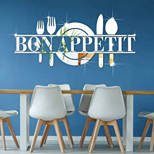 Bon Appetit Mirror Wall Stickers Kitchen Fork Spoon Knife Peel and Stick Wall Decal Acrylic Removable Wall Decor Sticker Wall Art Decal for Restaurant Kitchen Christmas Dining Room