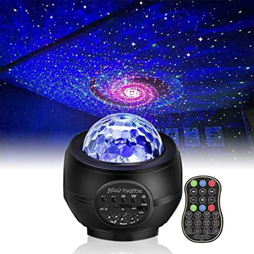 Gifts for Kids Bedroom Party Decor Starry Sky Projector Galaxy Ocean Wave LED Night Light with 8 Modes Rotation Projector Bluetooth Music Player Remote Control USB Cable