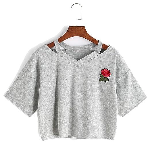 Amazon Bestag Embroidery Teen Girls Rose Crop Top Slim Tees