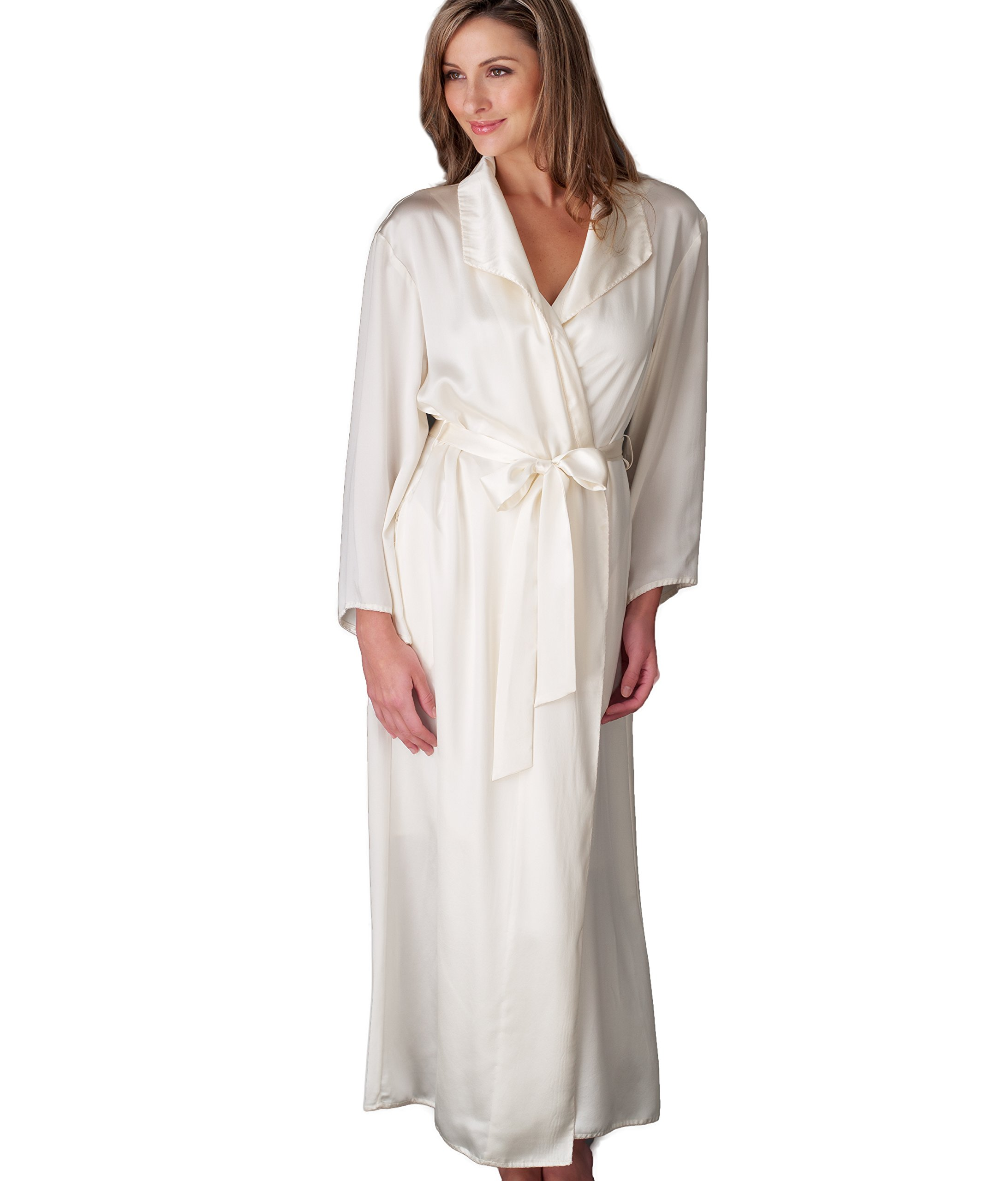 Julianna Rae Women's Evening Stroll 100% Silk Robe, Alabaster, M by Julianna Rae