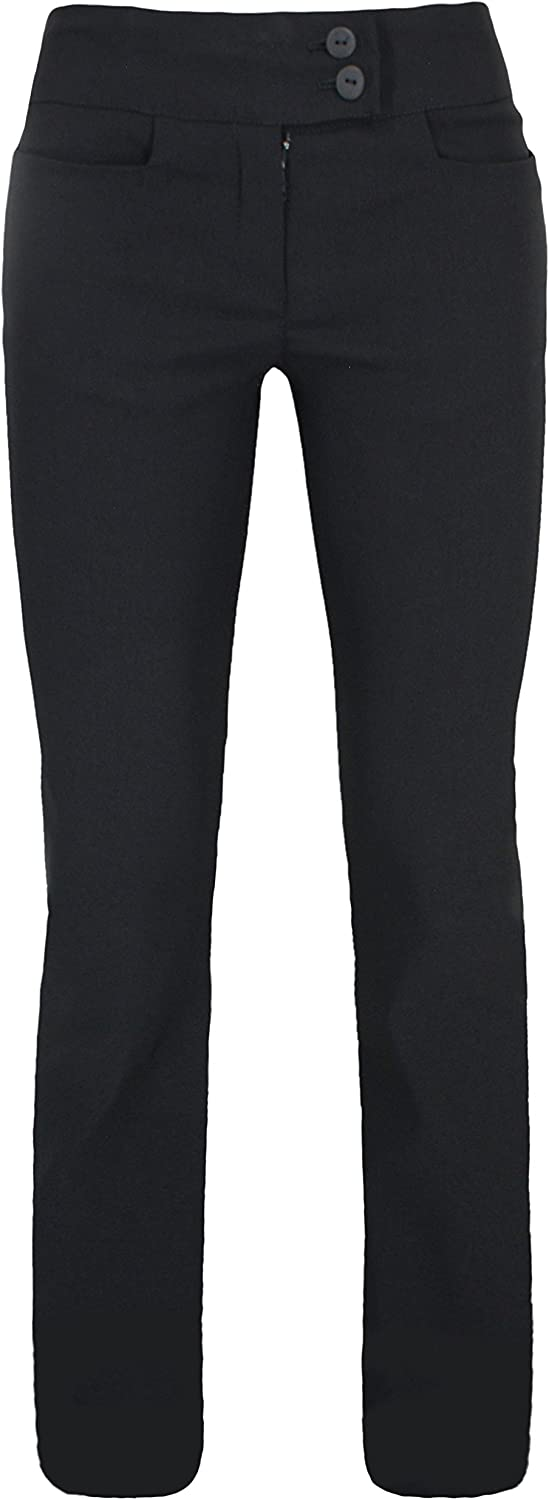 Lovetoenvy Girls School Trousers Quality 2 Button Stretch Pants for Age 7-16