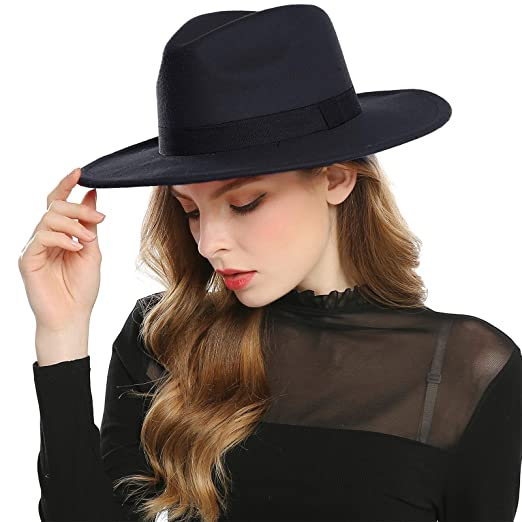 Haimeikang Women s Faux Wool Felt Fedora Hat Wide Brim Derby Church Party  Panama Winter Hats ( 9be484bae98