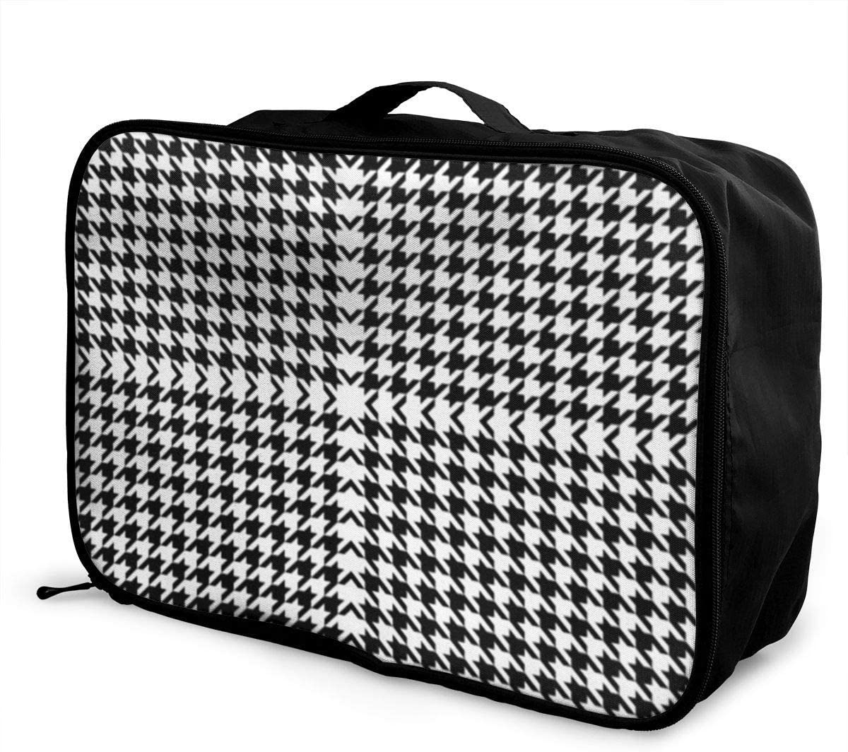 Black And White Houndstooth Travel Fashion Lightweight Large Capacity Duffel Portable Waterproof Foldable Storage Carry Luggage Tote Bag