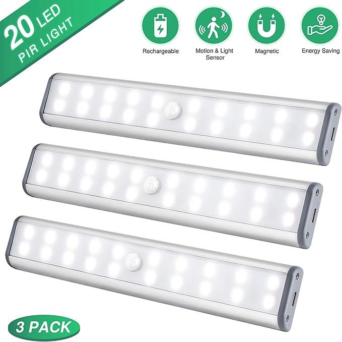 Schrankbeleuchtung LED Sensor Licht Kleiderschrank Lampen, USB Wiederaufladbar Schranklicht mit Bewegungsmelder Unterbauleuchte Küche LED Kabellos